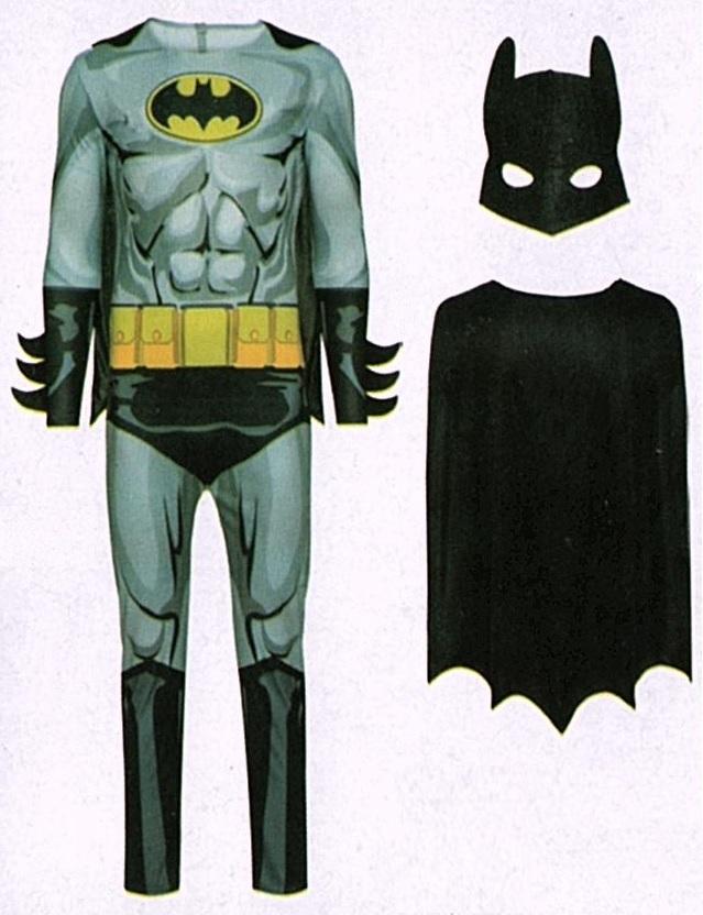 48//50 3-teilig Fasching Karneval Verkleidet M Batman Kostüm Fledermaus Gr